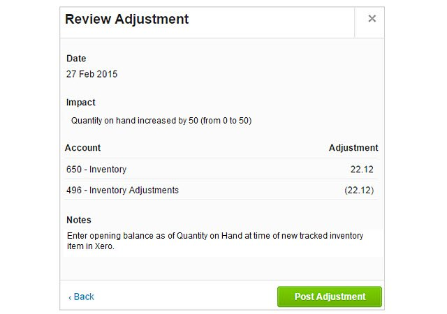Review Inventory Adjustment